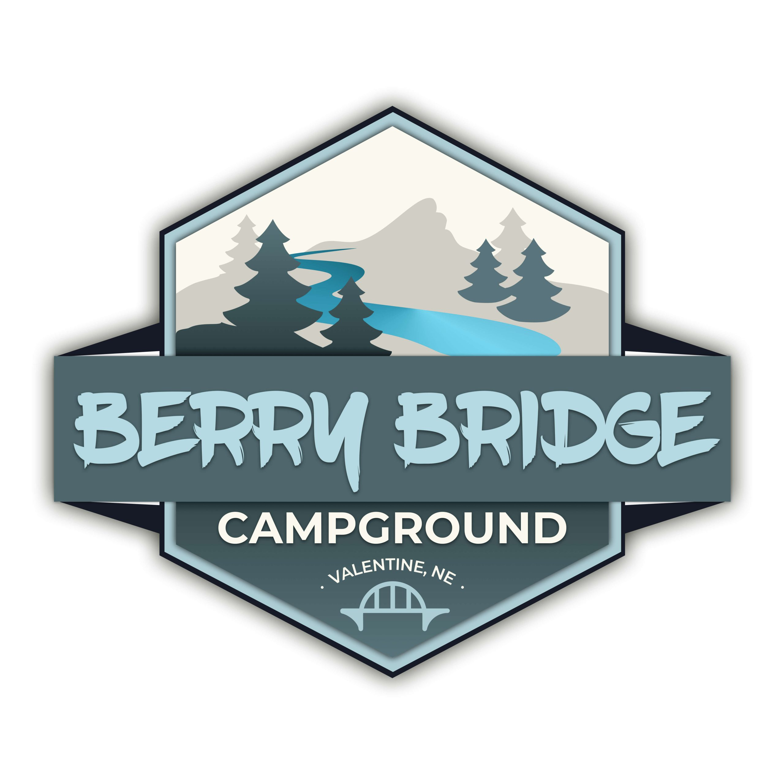 Berry Bridge Campground logo. Shades of blue with trees and river