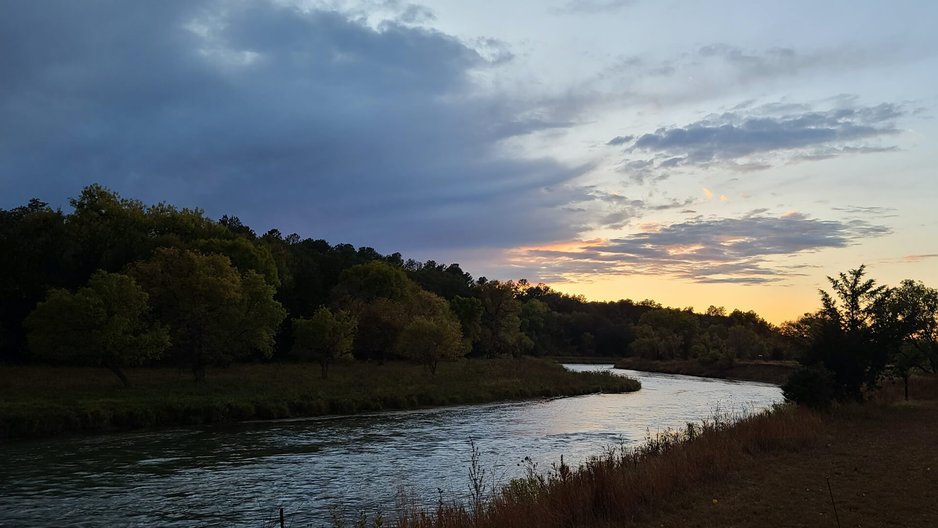 Niobrara River with Sunset. Spring Time